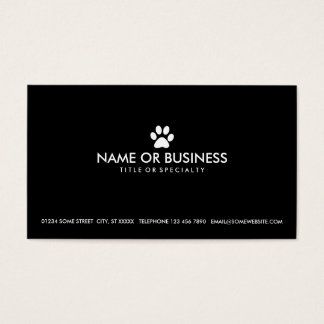 simple pet paw business card