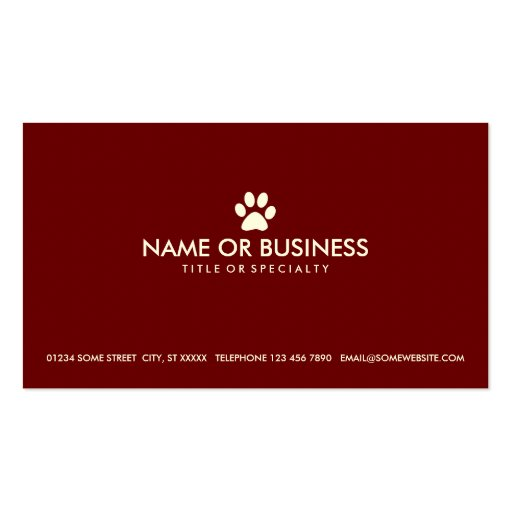 Pet business card templates simple pet paw business card templates zazzle reheart Image collections