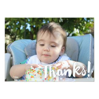 Simple Photo Background 'Thanks!' Card 13 Cm X 18 Cm Invitation Card