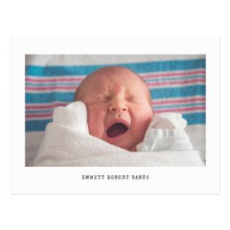 Simple Photo Birth Announcement Postcard