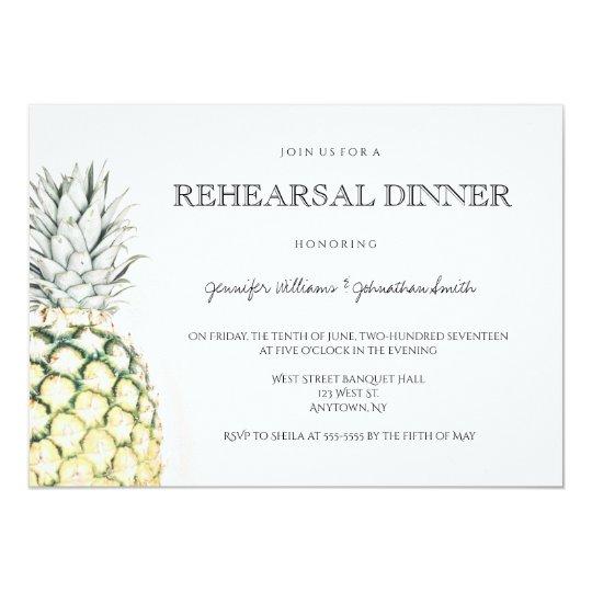 Simple pineapple rehearsal dinner invitations