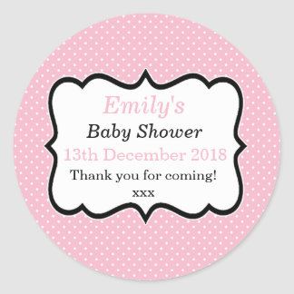 Simple pink and black modern polka dot dots labels round sticker