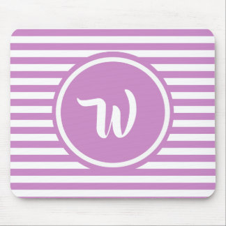 Simple Pink and White Stripes Striped Initials Mouse Pad