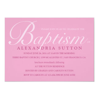 Simple Pink Baptism/Christening Invite 13 Cm X 18 Cm Invitation Card