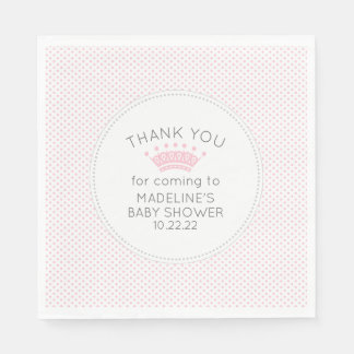 Simple pink dot crown baby shower decor paper napkins