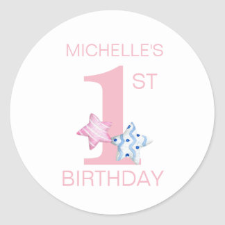 Simple Pink First Birthday with Stars and Name Classic Round Sticker