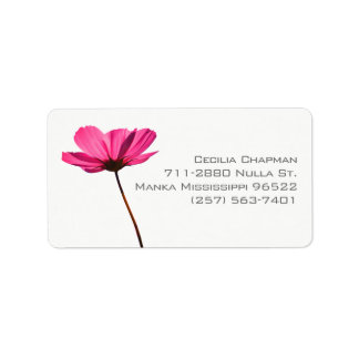 Simple pink flower label with custom text