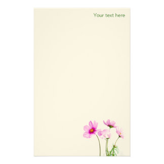 Simple Pink Flowers Personalised Stationery