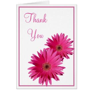 Simple Pink Gerbera Daisy Wedding Thank You Card