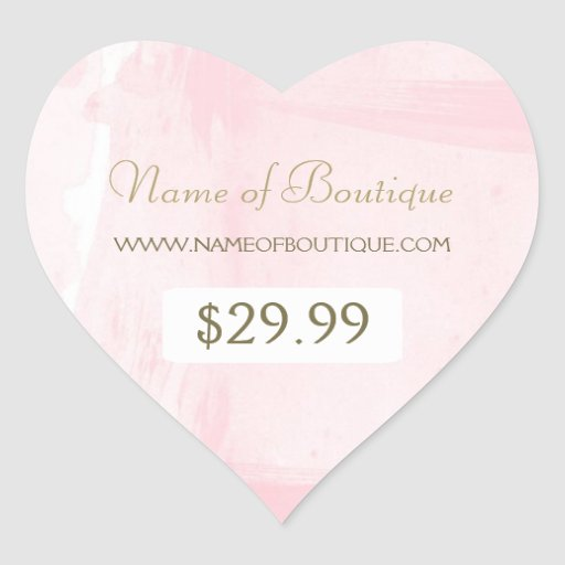 Simple Pink Gold Watercolor Boutique Price Tag Sticker