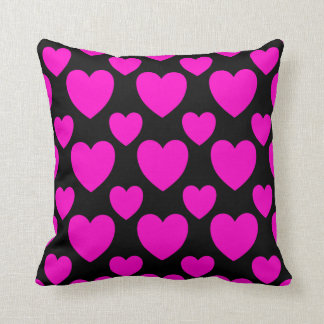 Simple Pink hearts Black Pillow
