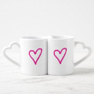 Simple pink hearts mug set