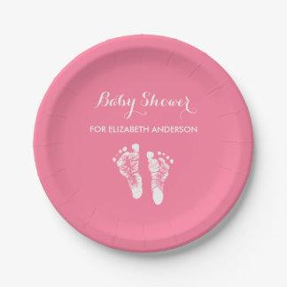 Simple Pink Newborn Footprints Girl Baby Shower Paper Plate