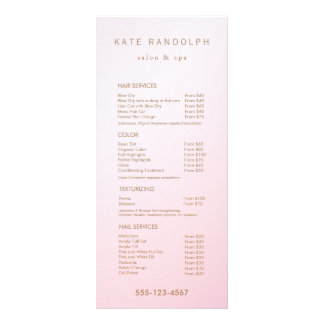 Simple Pink Ombre Salon Price List Service Menu