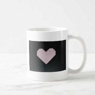 simple pink origami heart coffee mug