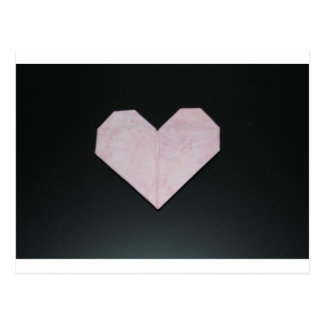 simple pink origami heart postcard