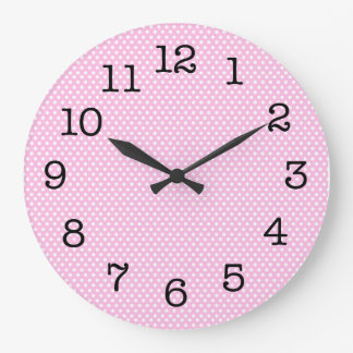 Simple Pink Polka Dot Wall Clock