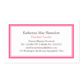 Simple Pink Professional Black and White Pack Of Standard Business Cards