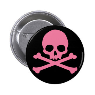 SImple Pink Skull and Crossbones 6 Cm Round Badge
