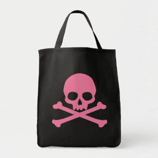 SImple Pink Skull and Crossbones Grocery Tote Bag