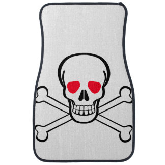 Simple Pirate Skull and Crossbones with Red Eyes Car Mat