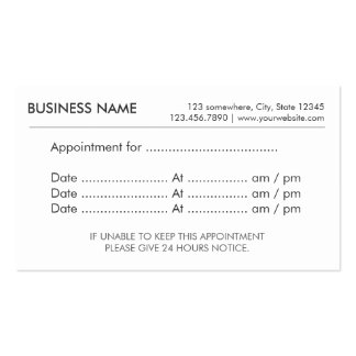 Simple Plain Appointment Reminder Business Cards