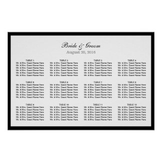 Simple Plain Black Border Wedding Seating Chart Poster