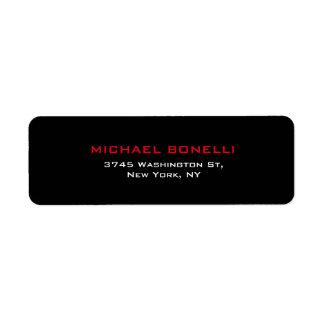 Simple Plain Black Red Elegant Modern Label Return Address Label