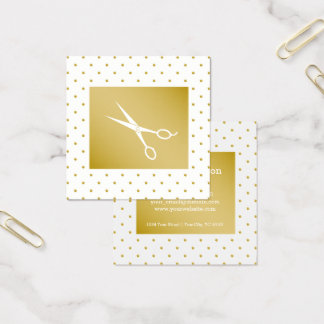 simple plain elegant gold polkadots hair stylist square business card