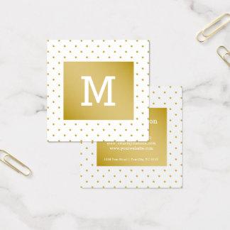 simple plain elegant white gold polkadots monogram square business card
