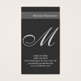 Simple Plain Grey Script Monogram Business Card