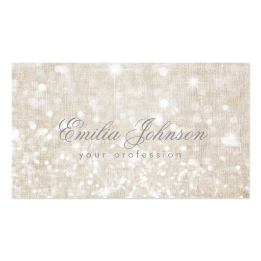 Simple Plain Linen Shimmering Business Card