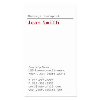 Simple Plain Massage Therapist Business Card