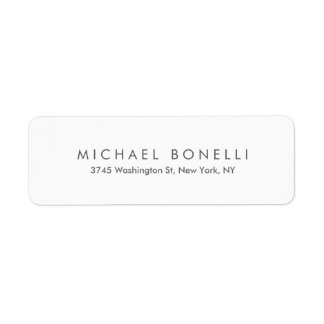 Simple Plain Minimalist Elegant Modern White Return Address Label