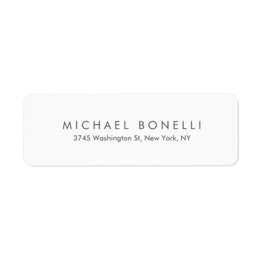 Simple Plain Minimalist Elegant Modern White Return Address Label