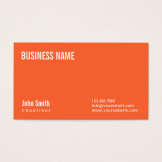 Simple Plain Orange Chauffeur Business Card