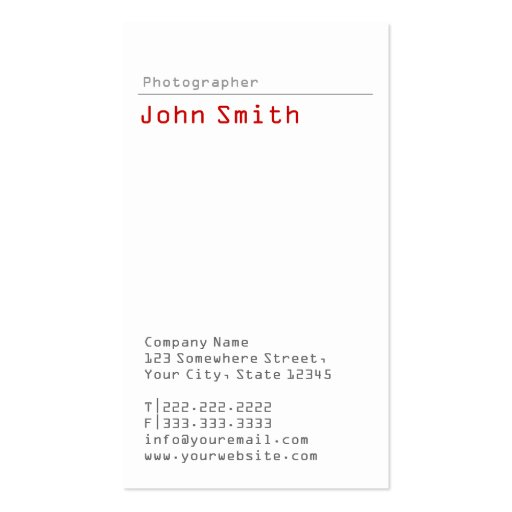 Simple Plain Photographer Business Card