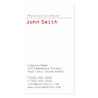Simple Plain Physical Scientist Business Card