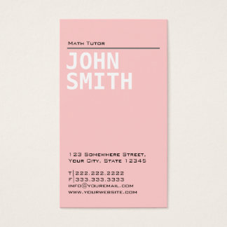 Simple Plain Pink Math Tutor Business Card