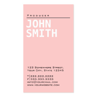 Simple Plain Pink Producer Business Card