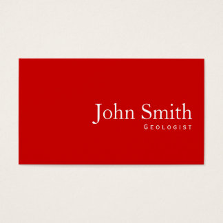 Simple Plain Red Geologist Business Card