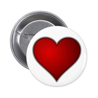 Simple Plain Red Heart 6 Cm Round Badge