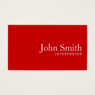 Simple Plain Red Interpreter Business Card