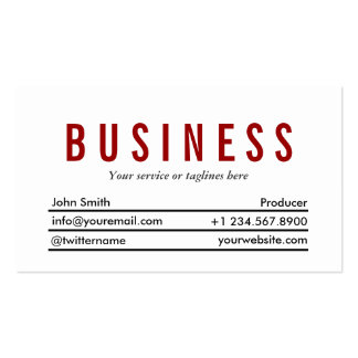 Simple Plain Red Title Producer Business Card