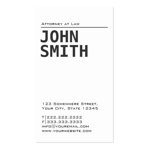 Simple Plain White Attorney Business Card