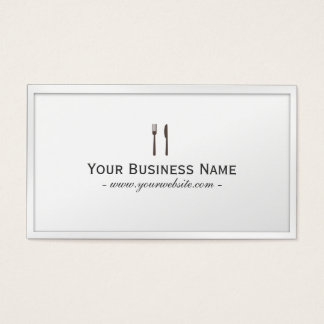 Simple Plain White Dining/Catering Business card
