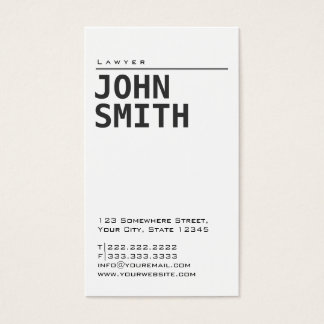 Simple Plain White Lawyer Business Card