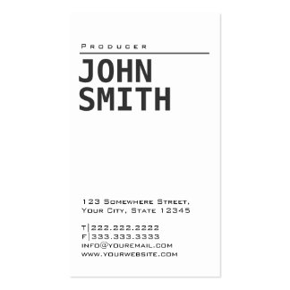 Simple Plain White Producer Business Card
