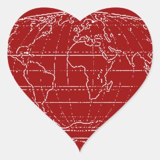 simple planisphere / maps heart sticker