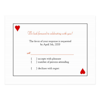Simple Playing Cards Wedding RSVP